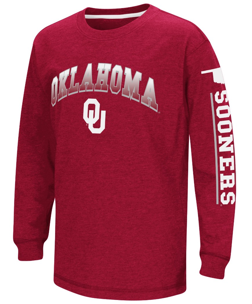 "Oklahoma Sooners NCAA ""Grandstand"" Long Sleeve Dual Blend Youth T-Shirt by Colosseum"