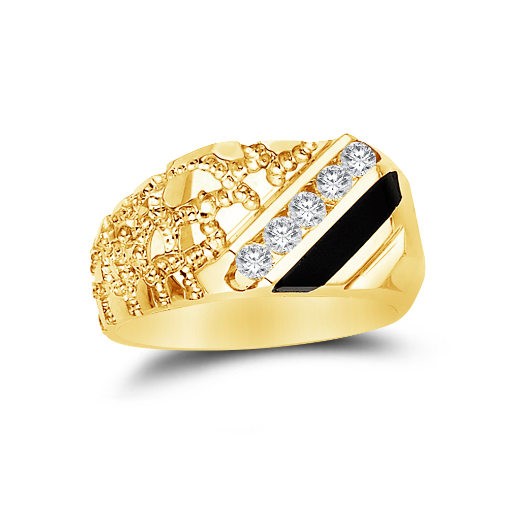 GemApex Onyx Ring Solid 14k Yellow Gold Band Mens Black Diamond Cut Stylish Square Design Polished Fancy