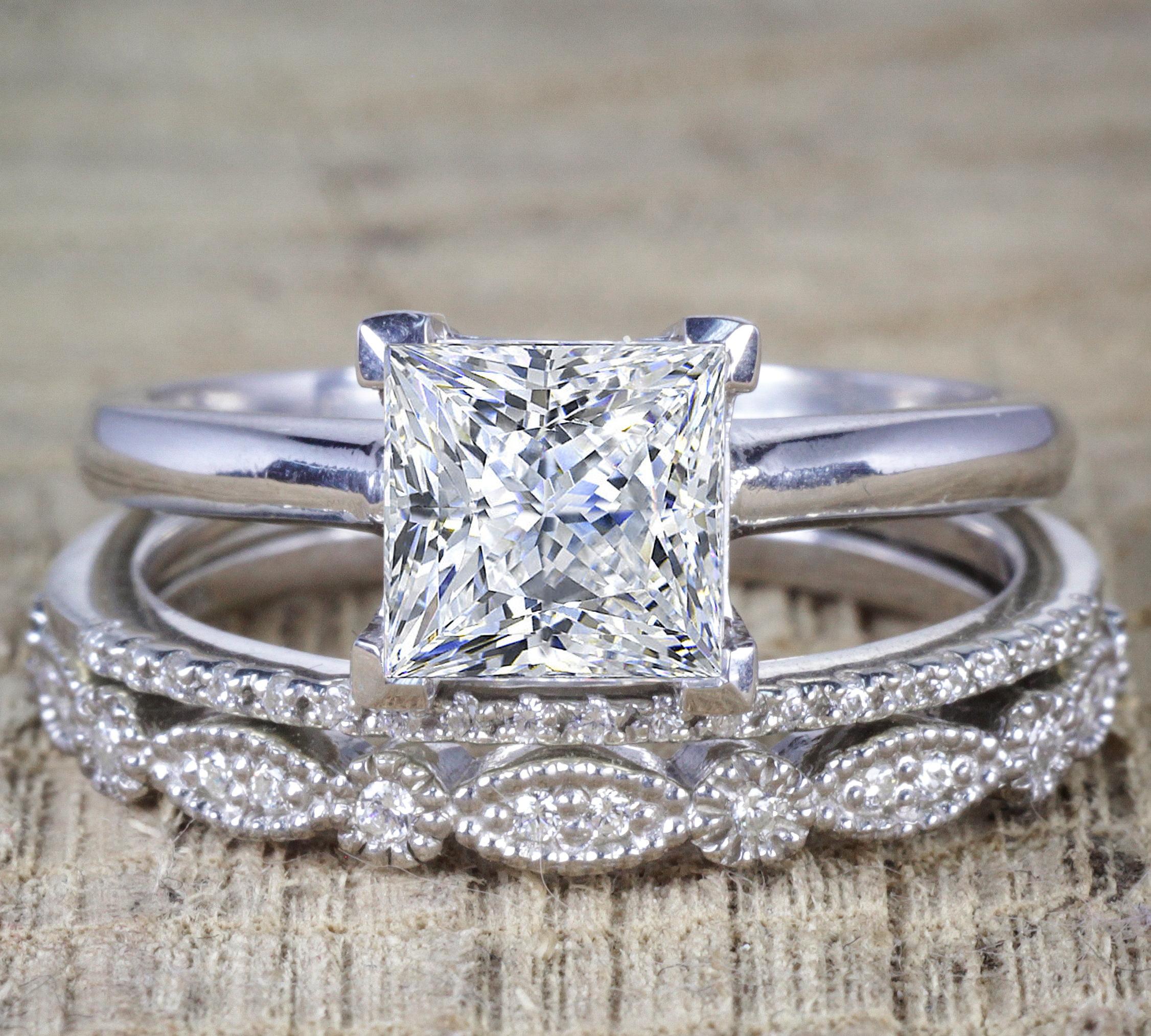 Jeenmata 2 Carat Princess Wedding Ring Set Bridal Set