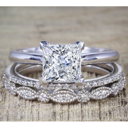 2 Carat Princess Wedding Ring Set - Bridal Set - Wedding Trio Set - Engagement Ring - Art Deco Ring - Promise Ring - Sterling Silver 2 Ring Wedding Set