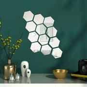 12Pcs 1.81''X1.57''/Pcs Mirror Wall Stickers Self Adhesive Plastic Mirror Tiles for Home Decor