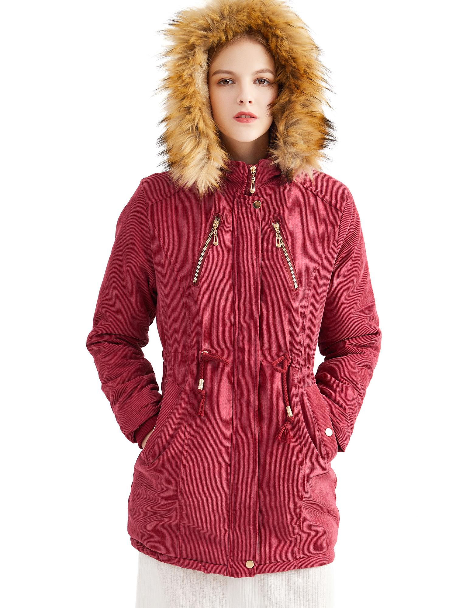 Women Lady Hooded Faux Fur Parka Warm Long Coat Jacket Hoodie Outwear Overcoat