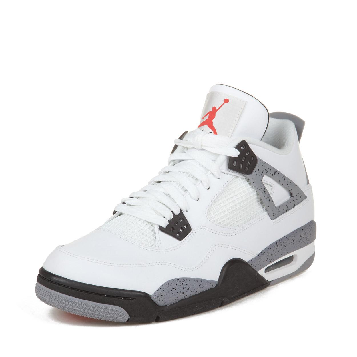 "Nike Mens Air Jordan 4 Retro ""White Cement"" White/Black-C..."