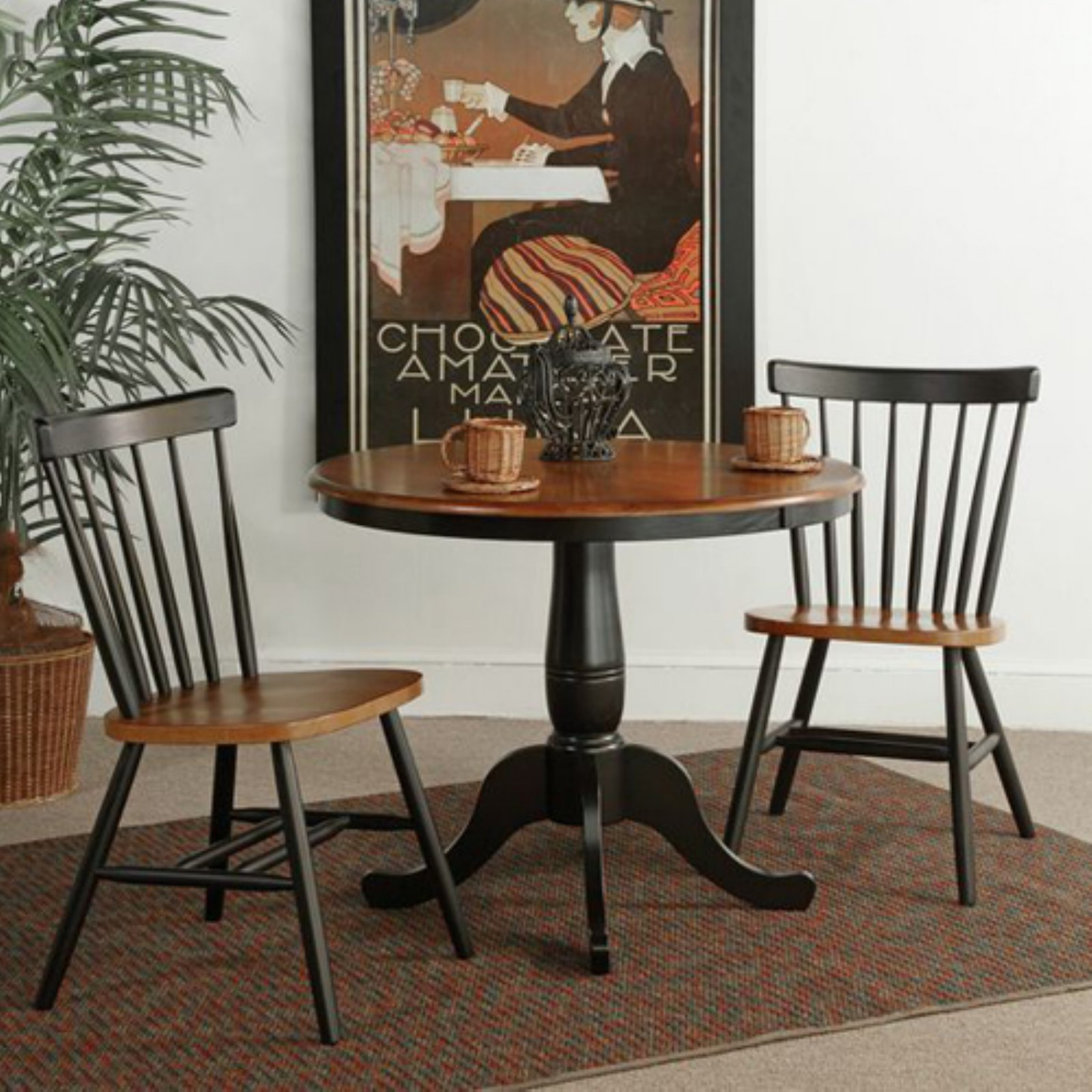 "36"" Round Pedestal Dining Table with 2 Copenhagen Chairs"