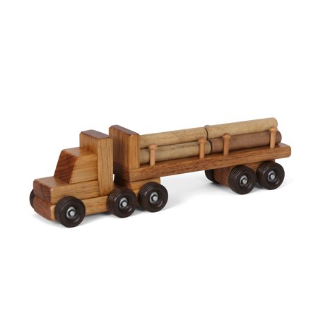 AmishToyBox.com Wooden Log Hauler Toy Truck, CPSIA Kid Safe Finish (Lrg Trunk)