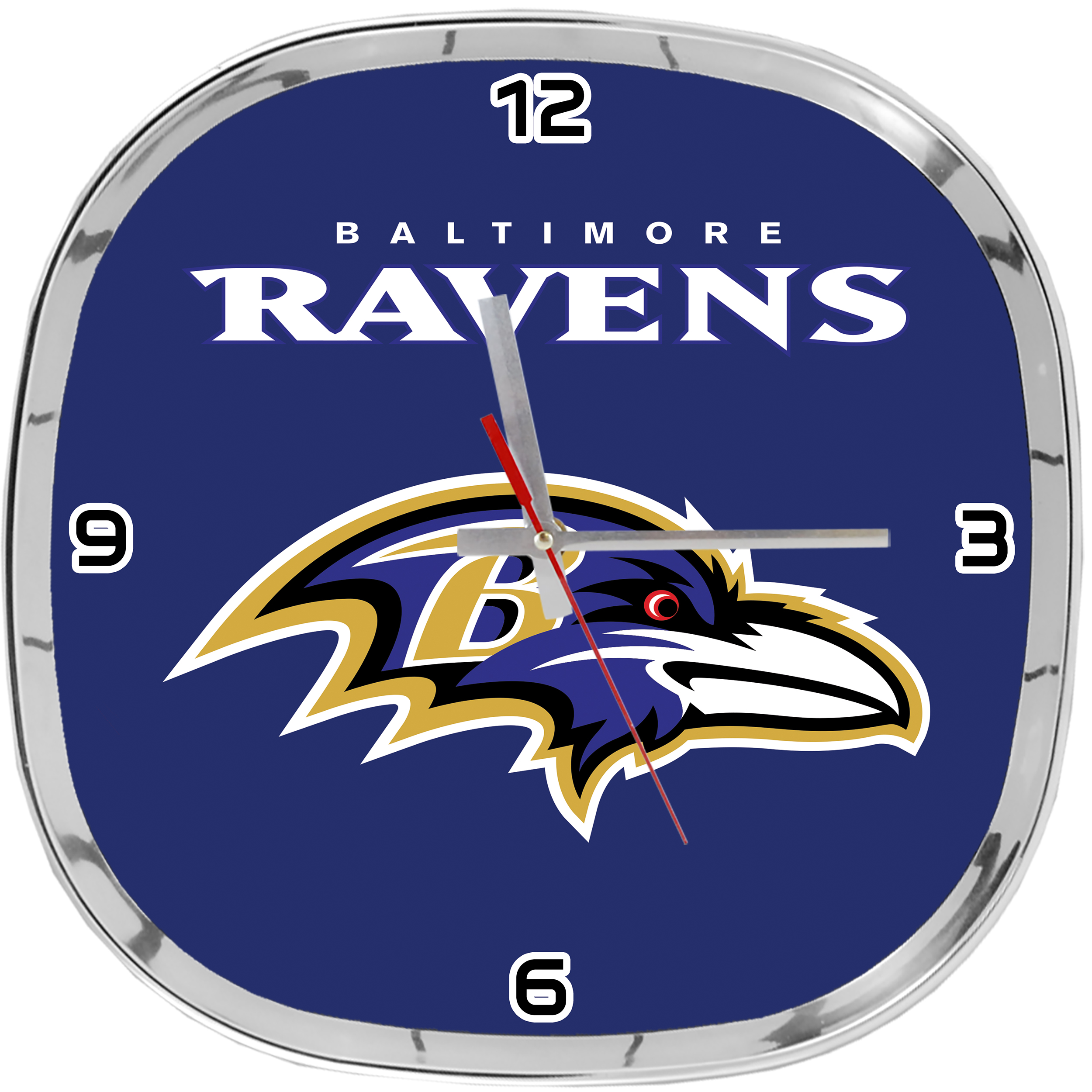 CHROME CLOCK RAVENS