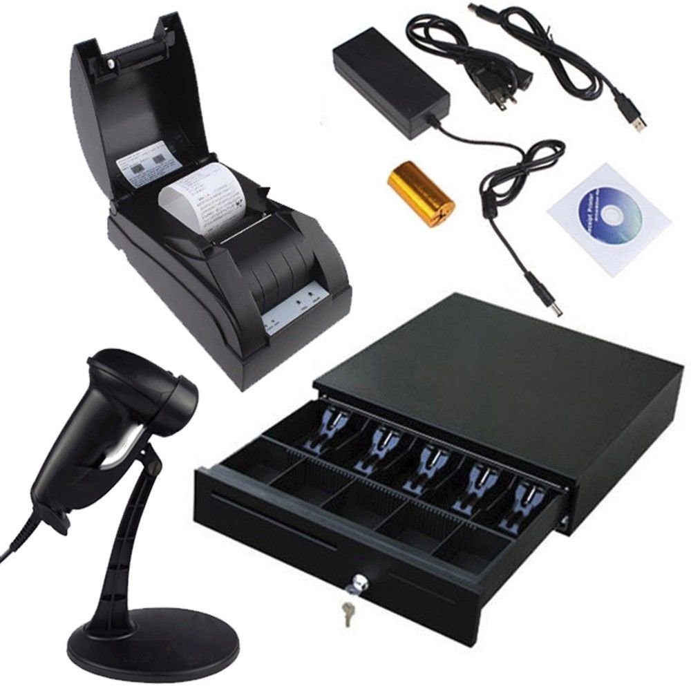2xhome - USB POS 58 mm Thermal Receipt Printer Point of Sale 12v Cash Drawer Register Barcode Scanner Heavy Duty Key-lock 5 Bills and 5 Coin Black Combo Set for Window Win 8 7 Xp