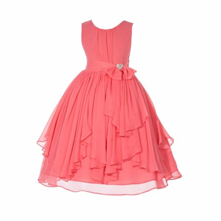 Ruched Bodice - Ekidsbridal Yoryu Chiffon Ruched Bodice Rhinestone Toddler Flower Girl Dress Holiday Dresses Pageant gown 162s 8