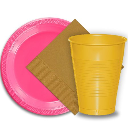 50 Hot Pink Plastic Plates (9
