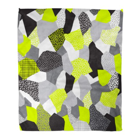 Jsdart Throw Blanket Warm Cozy Print Flannel Abstract Collage Of Retro 80 Memphis Patterns In Black Grays And Neon Yellow Comfortable Soft For Bed Sofa And Couch 50x60 Inches Walmart Canada