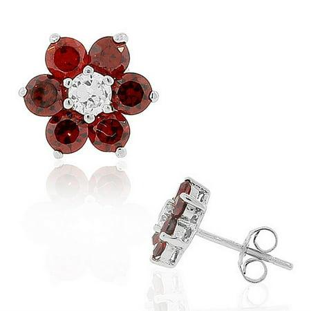 Sterling Floral Earrings - 925 Sterling Silver Red CZ Womens Flower Floral Design Stud Earrings