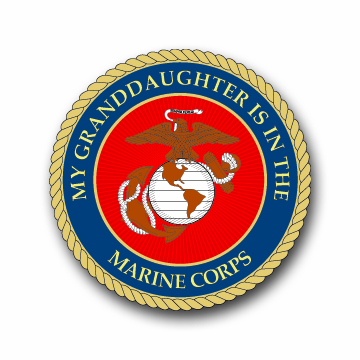 3.8 Inch MY GRANDDAUGHTER IS IN THE MARINES VINYL TRANSFER DECAL