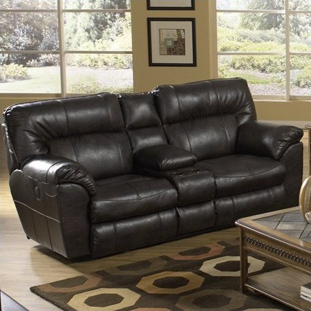 Phenomenal Catnapper 4049122329 4049 1223 29 Nolan Godiva Leather Reclining Console Loveseat Bralicious Painted Fabric Chair Ideas Braliciousco