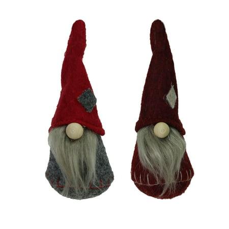Santa Hanging Ornament - Set of 2 Gray Burgundy and Red Santa Gnomes Hanging Christmas Ornaments 4.75