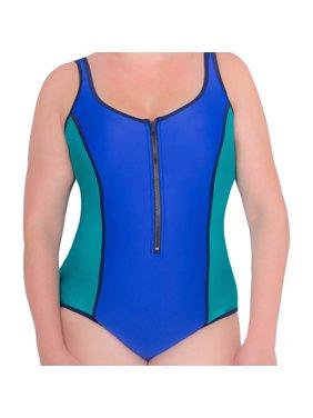 8d725122f86 Product Image Women s Plus-Size Neoprene ColorblockV-Neck One-Piece Swimsuit  With Chunky Zipper. Donatella Sport