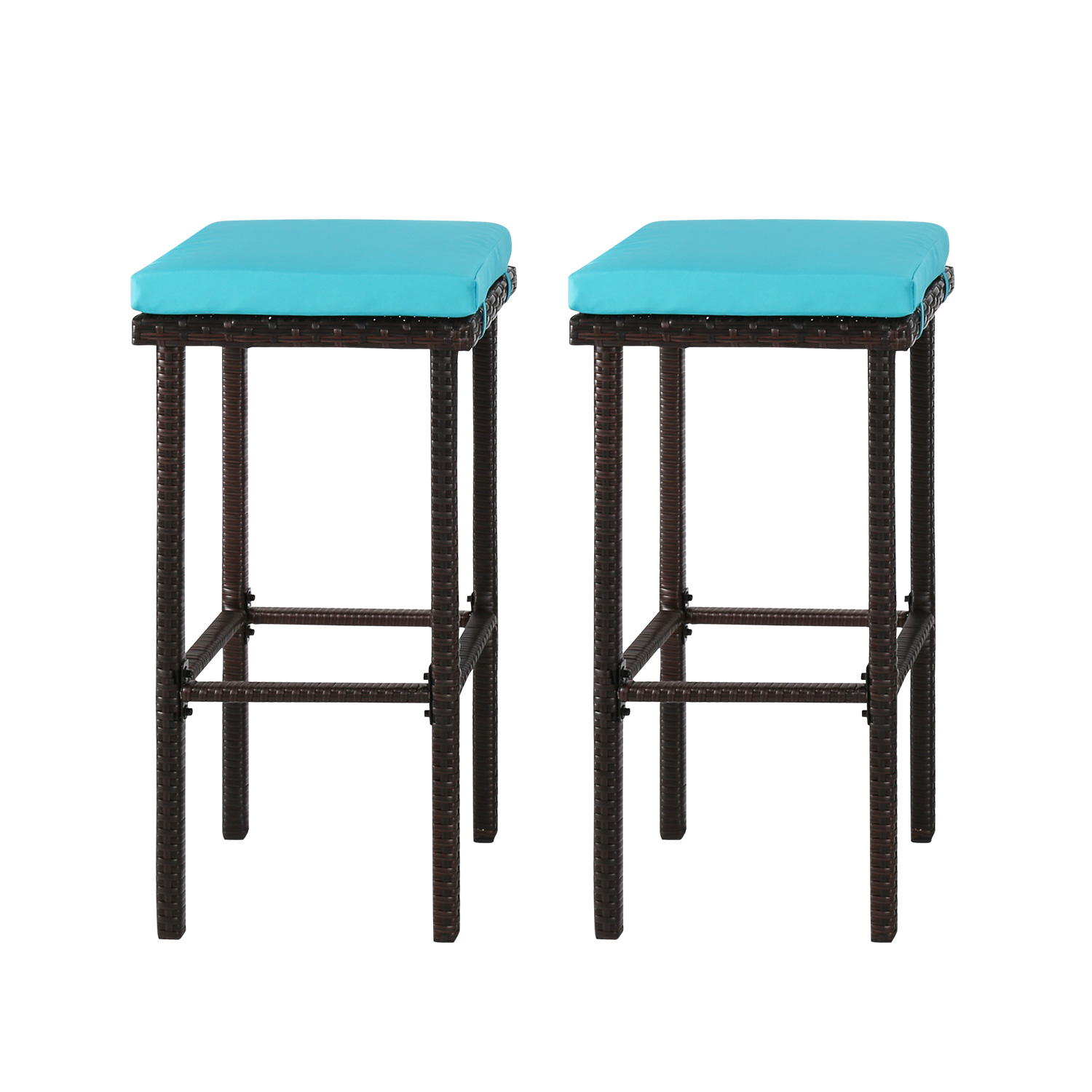 Kinbor Outdoor Furniture Set of 2 Wicker Backless Bar Stools With Blue Cushions