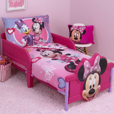 Pink And White Minnie Mouse (Disney Minnie Mouse Hearts and Bows 4 Piece Toddler Bedding)