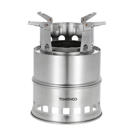 TOMSHOO Portable Stainless Steel Wood Burning Camping Stove Solid Alcohol Stove Survival Backpacking Wood Burning Cooking
