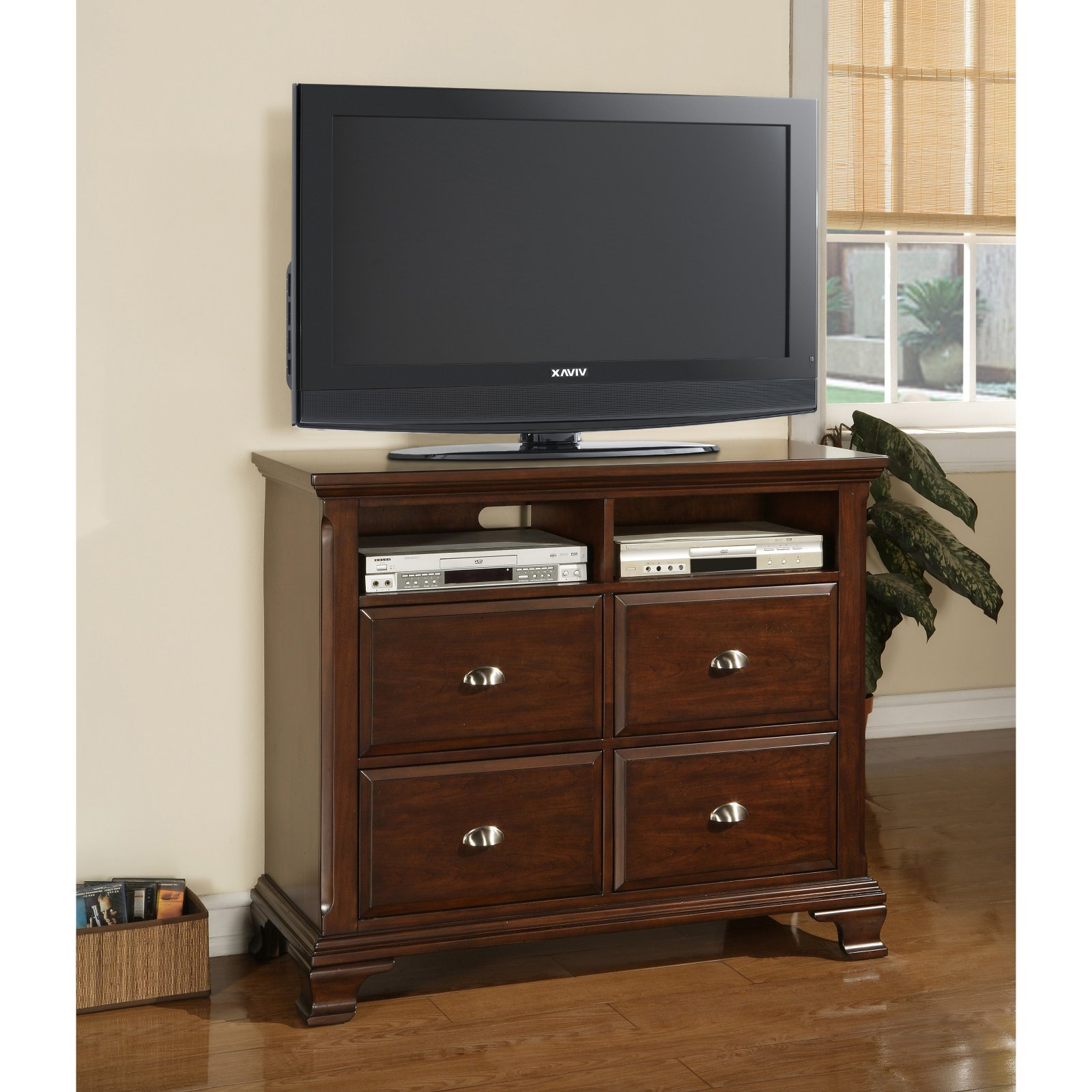 Picket House Furnishings Canton 4 Drawer Media Chest Deep Cherry by Elements