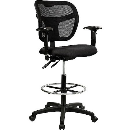 Fabric and Mesh Drafting Stool with Arms, Multiple Colors