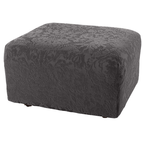 Sure-Fit Stretch Jacquard Damask Ottoman Slipcover
