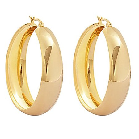 Edforce Womens 18k Gold Plated Rounded Thick Hoop Earrings 40mm