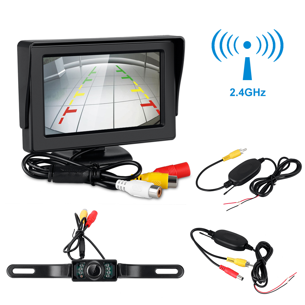 "4.3"" TFT Wireless Car Backup Camera and LCD Monitor Rear View System Night Vision Waterproof"
