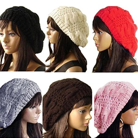Off White Winter Beanie - Girl12Queen Fashion Women's Lady Beret Braided Baggy Beanie Crochet Hat Ski Knitted Cap