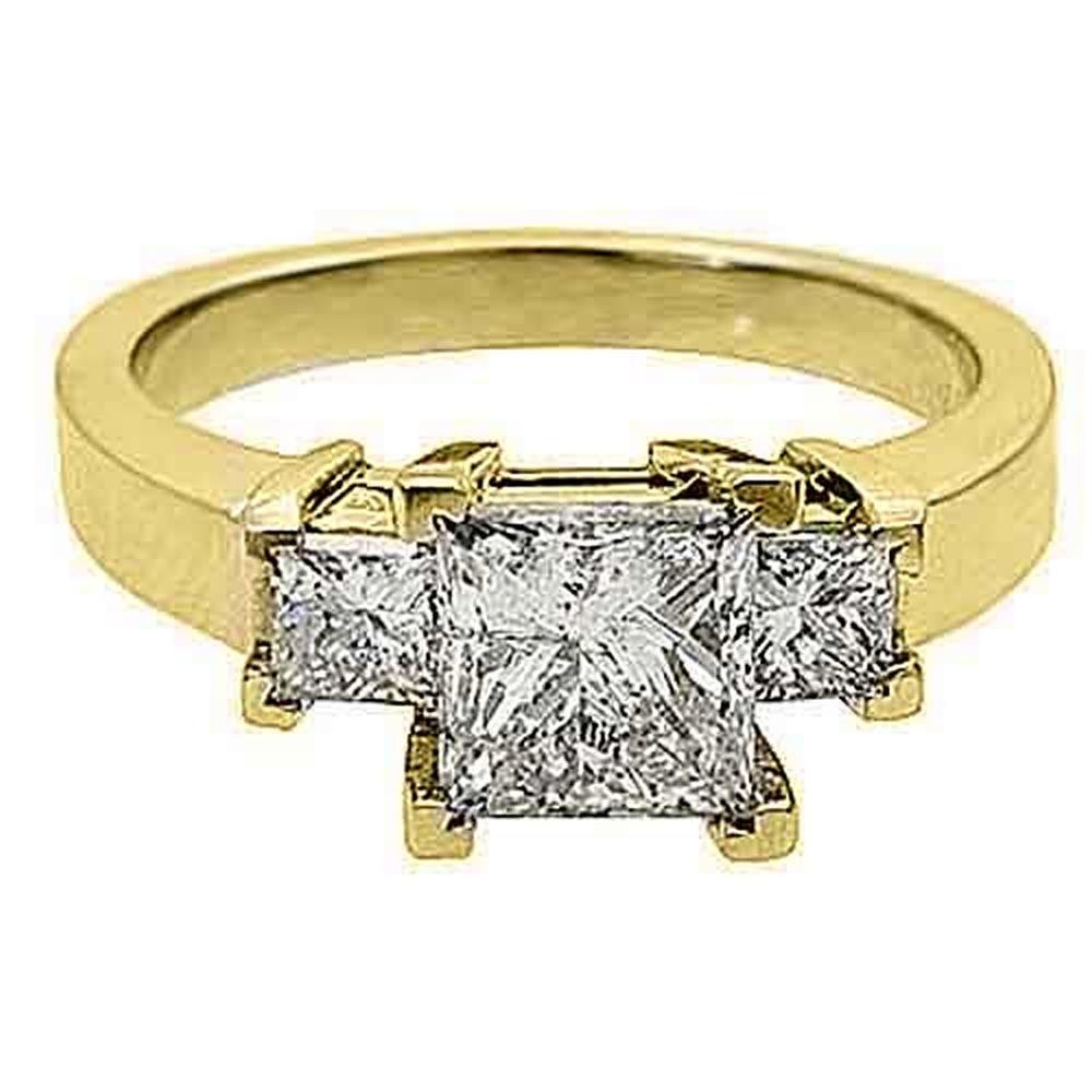 14k Yellow Gold 2 Carat Princess Cut Past Present Future ...