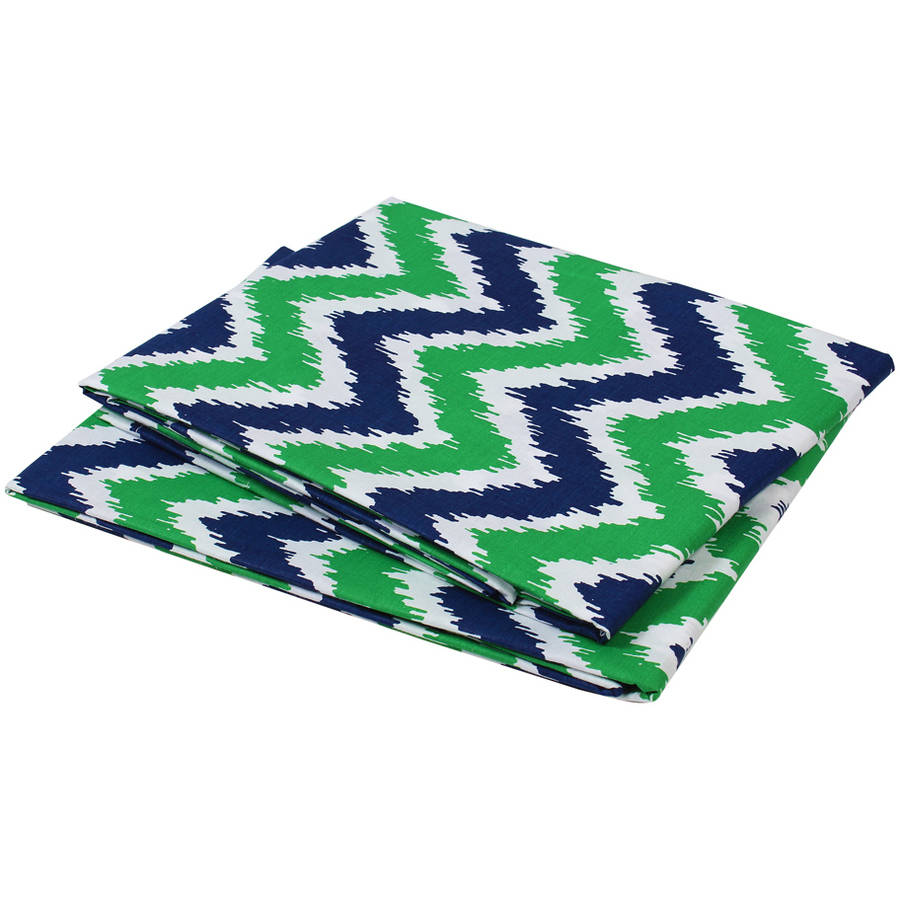 Bacati  -  MixNMatch Zigzag Crib / Toddler Bed Fitted Sheets 100% Cotton Percale, Navy / Green, 2 - Pack