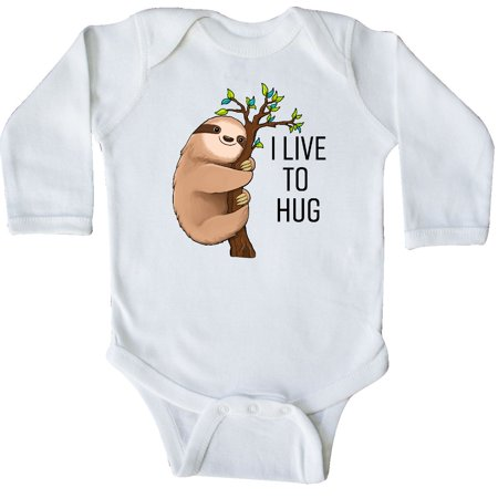 Inktastic I Live To Hug- Cute Sloth On A Branch Long Sleeve Creeper Animals Fun