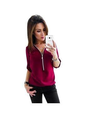 065e530f41a Product Image Women Autumn Tops Femme Zipper Deep V-neck Slim Fit Waist Shirts  Casual Elegant Pullovers