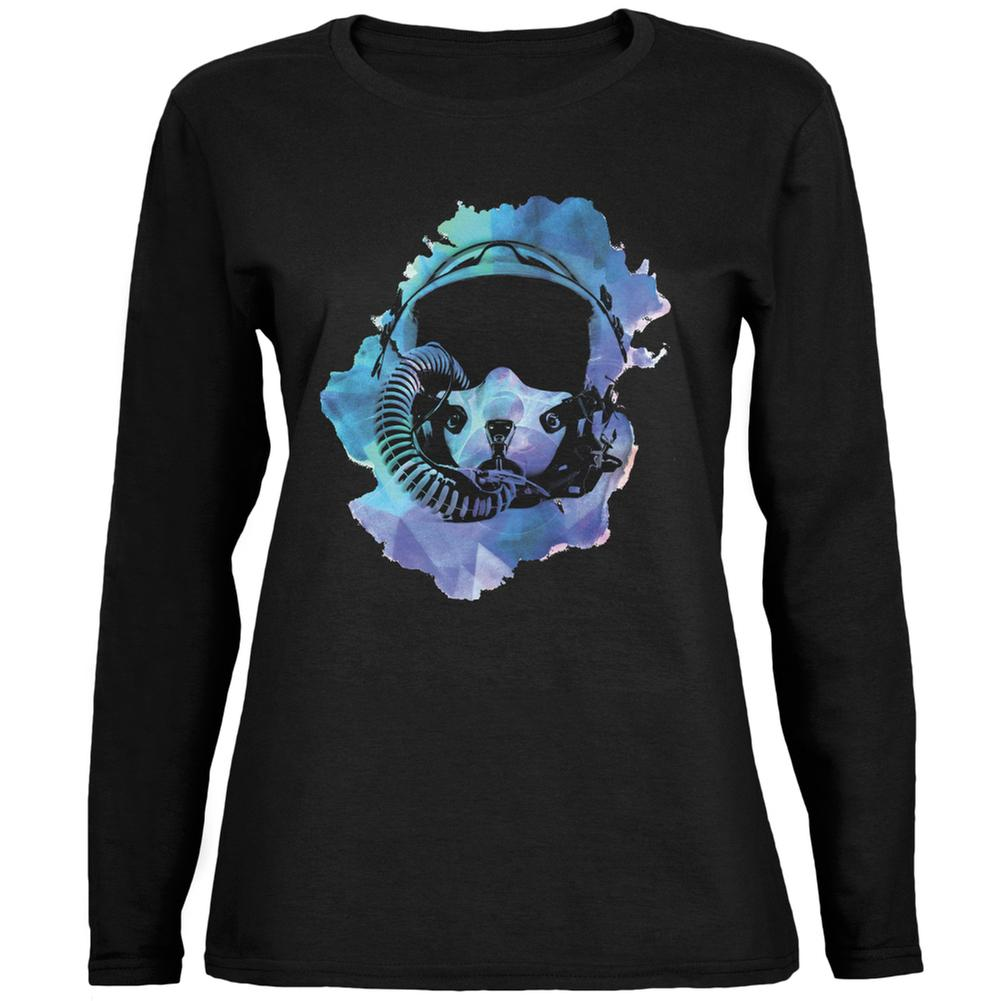 Fighter Pilot Helmet Hipster Watercolor Black Womens Long Sleeve T-Shirt