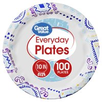 Great Value Everyday Plates, Fiesta Print, 100 Count