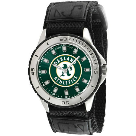 Game Time MLB Men's Oakland Athletics Veteran Series Watch, Black Velcro Strap