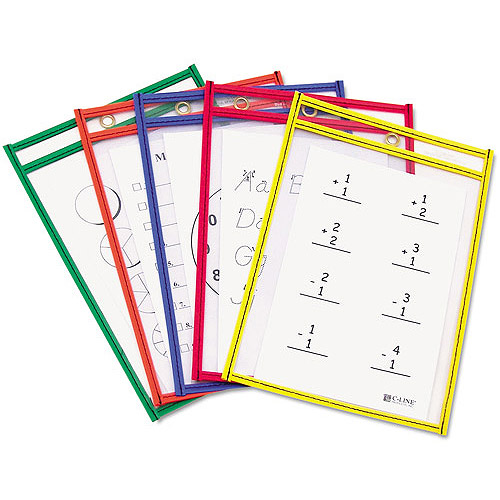 "C-Line Reusable Dry Erase Pockets, 6"" x 9"", 10/Pack"
