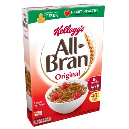 Kellogg's All-Bran Breakfast Cereal 18.6 oz Box