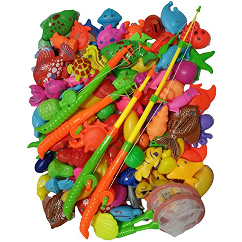 95 Pieces Magnetic Fishing Playset Outdoor Water Large Fish Toys Kids Funny Bath Toy by 1990s