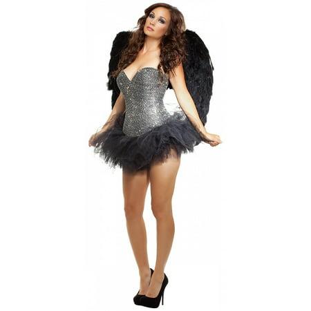 Signature Angel Adult Costume Black Fallen Angel Rhinestone Corset & Tutu - Large