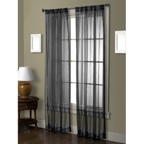VCNY Cedar Solid Sheer Rod Pocket Single Curtain Panels