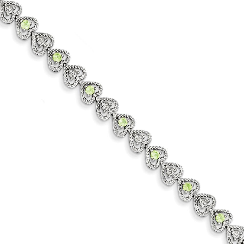 Sterling Silver Peridot Diamond Bracelet .02 dwt 1.12 cwt by