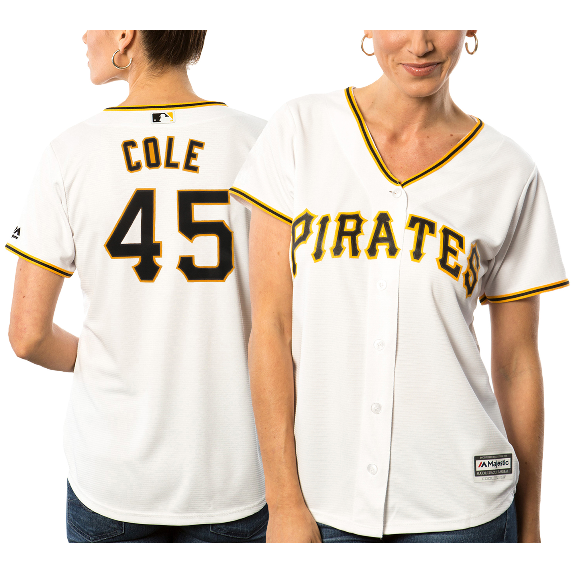Gerrit Cole Pittsburgh Pirates Majestic Women's Cool Base Player Jersey White by MAJESTIC LSG