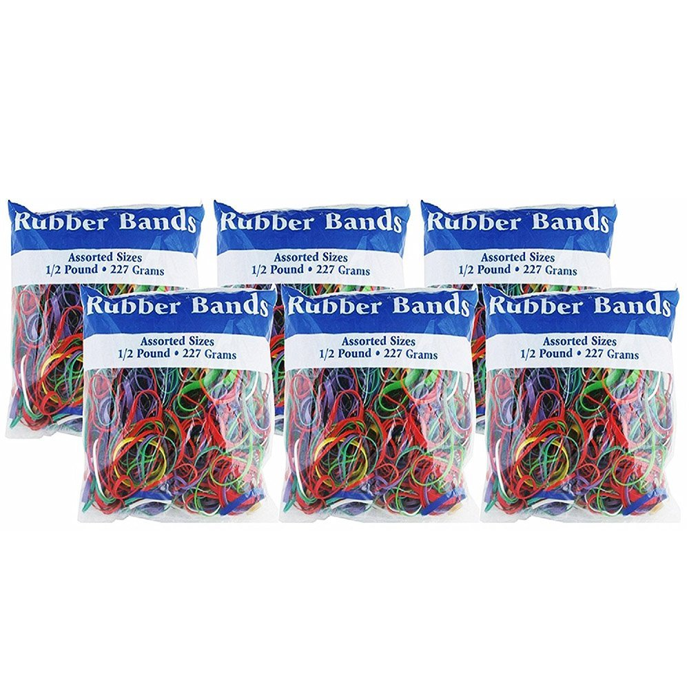 BAZIC Assorted Dimensions 227g/0.5 lbs. Rubber Bands, Multi Color (6-Pack)