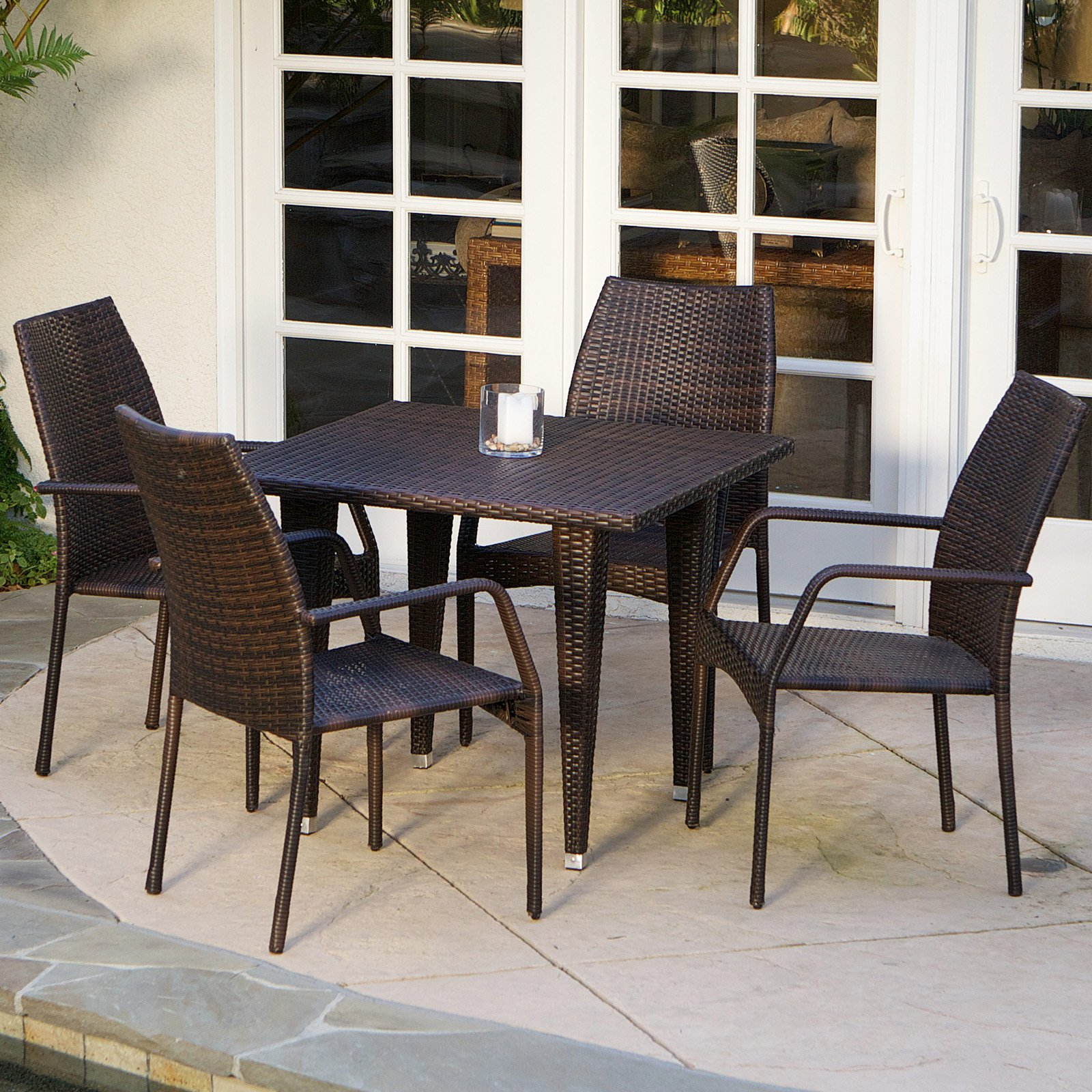 Canoga All-Weather Wicker Patio Dining Room Set Seats 4 by GDF Studio