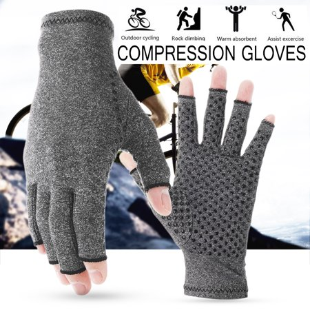 3 Size Anti Arthritis Gloves Textured Open Finger Compression Gloves Support for Rheumatoid and Osteoarthritis Pain