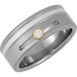 Jewels By Lux Titanium & Sterling Silver Inlay 7mm .07 CTW Diamond Bezel Grooved Band Size 10 (Titanium Bezel Faceted Gem)