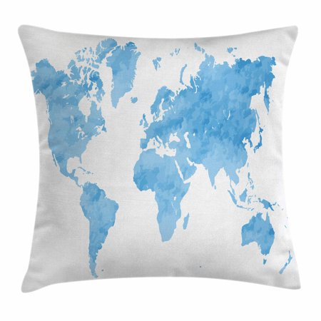 Display Pillow (Map Throw Pillow Cushion Cover, Blue Watercolor Style World Map Artistic Pastel Colored Display of Continents, Decorative Square Accent Pillow Case, 20 X 20 Inches, Pale Blue White, by Ambesonne )