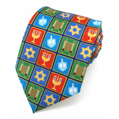 Hanukkah Holiday Squares X-Long Tie