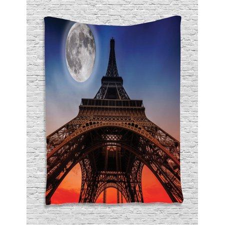 Dusk Eiffel Tower - Eiffel Tower Decor Wall Hanging Tapestry, Full Moon Night Sky Dusk Digital Style Minimal French Flag Eiffel Tower Digital Art, Bedroom Living Room Dorm Accessories, By Ambesonne