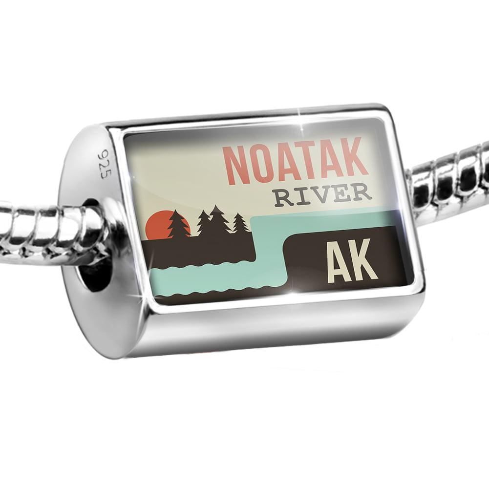 Sterling Silver Bead USA Rivers Noatak River - Alaska Charm Fits All European Bracelets